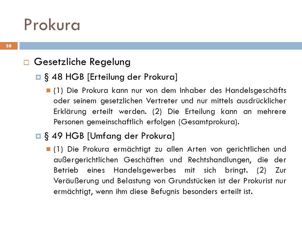 Prokura Gesetzliche Regelung § 48 HGB [Erteilung der Prokura]